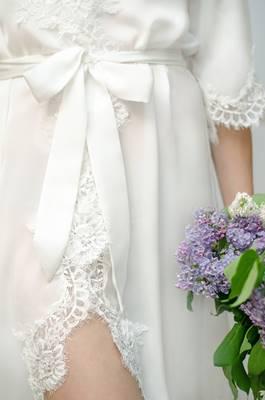OPHELIA Lace Trim Bridal Robe