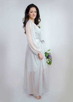 EVA Long Robe - Grey Pearl For Brides