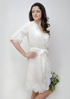 OPHELIA Lace Trim Bridal Robe