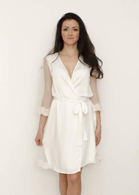 BELLA Lace Trim Bridal Robe